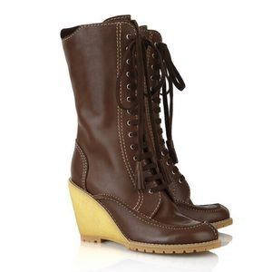 See By Chloe Lace-up Leather Wedge Boots IT 38 EUC